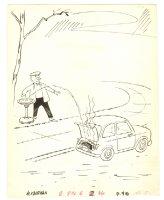 Broken Down Car Humorama Gag - 1959 Signed Comic Art
