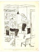 Babe at Tattoo Parlor Humorama Gag - 1956 Signed  Comic Art
