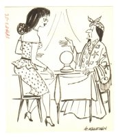 Babe and Fortune Teller Humorama Gag - 1960s Signed Comic Art