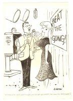 High Beam Babe on TV Show Humorama Gag - 1958 Signed Comic Art