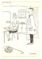 House Wife 'No Dinner' Humorama Gag - 1957 Signed Comic Art