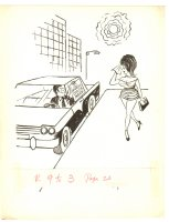 Guy in Car Trying to Pick up Babe Humorama Gag - 1960s Signed Comic Art
