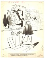 High Beam Babe with Refunds Humorama Gag - 1959 Signed Comic Art