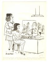 Mom Wants to Screen Potential Husbands Humorama Gag - 1961 Signed Comic Art