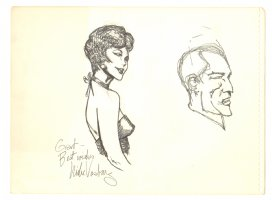 Elegant Woman and Man Portrait - 1970's Signed Comic Art