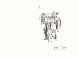 Einstein with Musketeer Prelim - Signed Comic Art