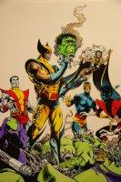 Mark McNabb Color Art of Wolverine and X-Men Defeating Hulk Robot over Steve Lightle Stat 1989 Comic Art