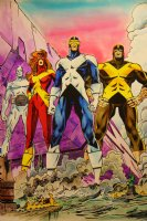 Mark McNabb Color Art of X-Men over Walt Simonson Stat 1991 Comic Art