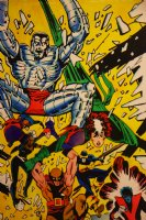 Mark McNabb Color Art of X-Men Whole Team over Paul Smith Stat 1987 Comic Art