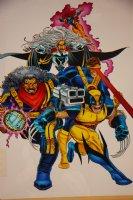 Mark McNabb Color Art of  X-Men over John Romita Jr. Stat 1993 Comic Art