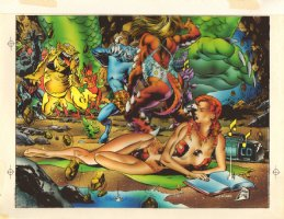 Phoenix on Monster Island Color Art - Over Steve Lightle - 1993 Comic Art