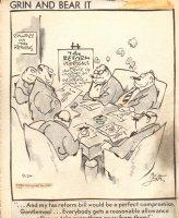 Grin & Bear it  Crooked Politician in Smoke Filled Room 9-24-1969 Comic Art