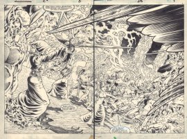 Marvel Fanfare #26 pgs. 8 & 9 - Weirdworld 'The Goblin Spree' - Tyndall and Velanna vs. Lord Raven DPS - 1986 Comic Art