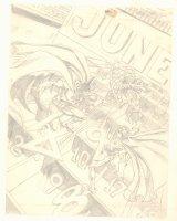 Detective Comics #551 Cover Prelim - Batman and Robin vs. the Calendar Man Action - 1985 Comic Art