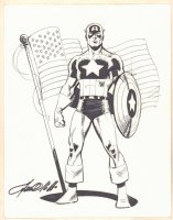 Captain America Full Figure with Flag Commission - Signed Comic Art