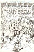 Fantastic Five #2 p.1 - F5 vs. the Wizard's Warriors Title Splash - 1999 Signed Comic Art