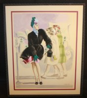 Fashion Woman at the Bus Stop Painted Illustration - 1940's or 50's Signed Comic Art