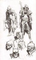 Steampunk Gotham Batman 7 Figure Unused DC Project Design Art Prelim - 2011 Comic Art