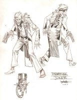 Steampunk Gotham Joker Unused DC Project Design Art - Finished Final Version - 2011 Comic Art