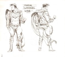 Steampunk Gotham Superman Unused DC Project Design Art - Finished Final Version - 2011 Comic Art