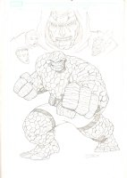 Fantastic Four's The Thing, Mister Fantastic, Invisible Woman, & Human Torch with Doctor Doom Portrait - 2004 Signed Comic Art