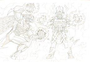 Galactus Battle Pencil Commission - 2006 Signed Comic Art