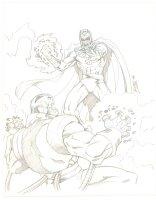 Apocalypse vs. Magneto Pencil Commission - 2006 Signed Comic Art