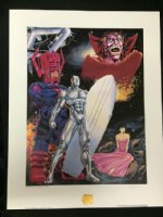 Guardian of the Spaceways: The Silver Surfer Print - Galactus & Mephisto - Signed by Ron Lim Comic Art