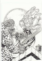 The Thing, Silver Surfer, and Doctor Doom Battle Cover-esque Commission - Signed Comic Art