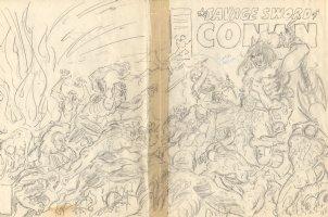 The Savage Sword of Conan Wraparound Pencil Cover Prelim - Conan and Red Sonja vs. Demons Comic Art