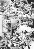 Hero kills savage - nude heals him - Warren B&W wash art p.9 Comic Art