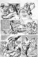 Warren black & white art story p.5 - Tarzan like hero, babe, and high tech alien - 1970's Comic Art