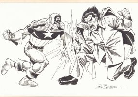 Captain America vs. Mr. Hyde Commission - Signed Comic Art