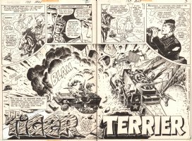 G.I. Combat #190 pgs. 2 & 3 - 'The Tiger and the Terrier' Title Page DPS - Haunted Tank - 1976 Comic Art