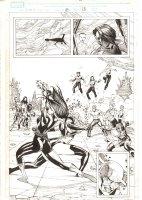 X-Men: The End #18 p.13 - Psylocke stabs Phoenix Force Cassandra Nova Splash - Nightcrawler, Jean Grey, Cyclops, Storm, & Cable- 2006 Comic Art