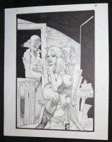 Fistful of Blood #1 p.40 - Blondie Nude in Chair Splash - Written by Kevin Eastman - 2002 Comic Art