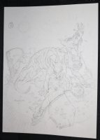 Devil Dogs Ripping Someone Apart Pencil Piece - 2008 Signed Comic Art