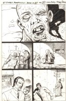 The Tower Chronicles: Geisthawk #2 p.50 - Ink Art Only - Priest with Possessed Man - 2012 Comic Art