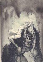 Beautiful Nude With Gorilla - Signed Comic Art