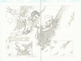 Wolverine Kills a Deer DPS Portfolio Piece - Set of Pencil and Ink Pages - Signed Comic Art
