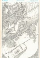 Harley Quinn vs. Deadshot Splash Portfolio Piece - Signed Comic Art