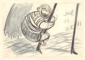 Nightmare Before Christmas Storyboard Original Artwork #16: Corpse Kid from Halloween Town on Jack's leg - 1993