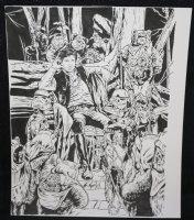 Star Wars: Return of the Jedi Card Art - LA - Miserable Han Solo with Ewoks - Signed Comic Art