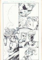 Deathstroke #12 p.17 - Blue Line Ink Art Only of Rob Liefeld Pencils - Deathstroke and Zealot Kiss - 2012 Comic Art
