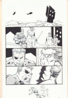 Deathstroke #12 p.? - Blue Line Ink Art Only of Rob Liefeld Pencils - Deathstroke and Zealot - 2012 Comic Art