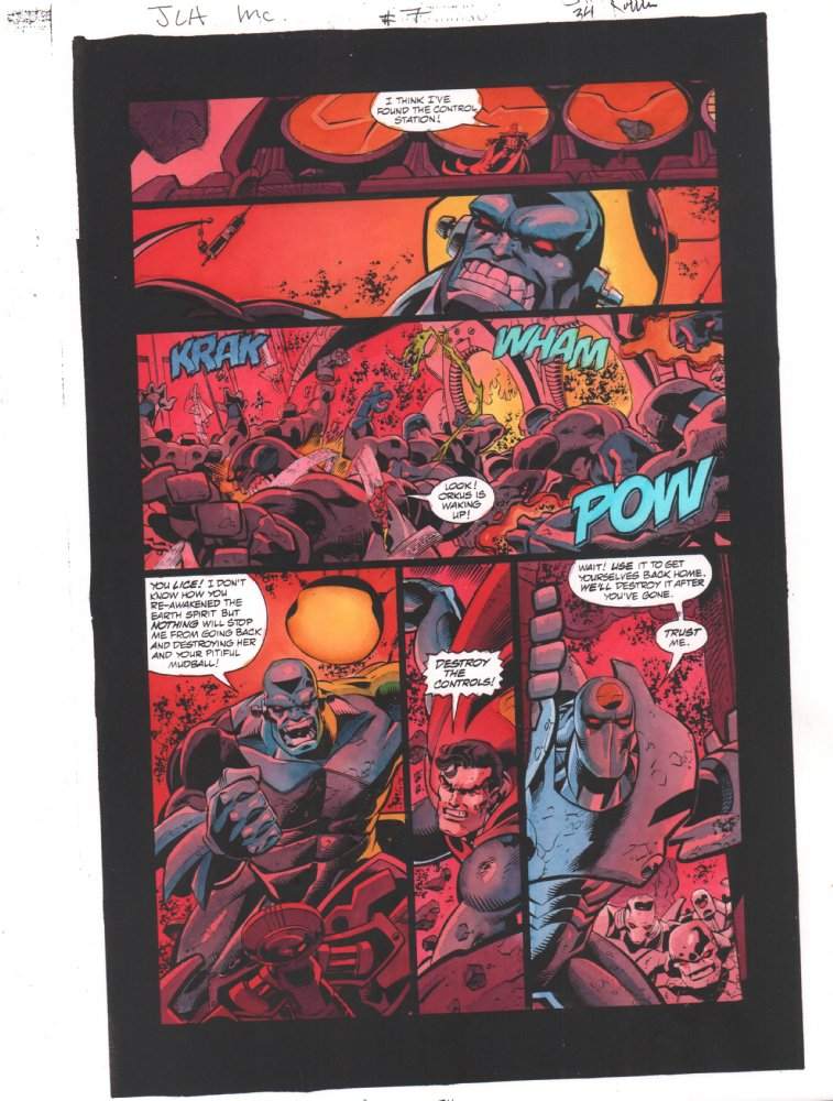 Anthony S Comic Book Art For Sale Artwork Jla Incarnations 7 P 34 Color Guide Art Superman And Batman Vs Appelaxians 2002by Artist John Kalisz
