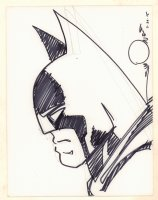 Batman from the Side Portrait Sketch - 2015 Signed Comic Art