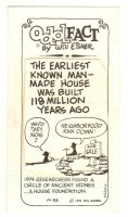Odd Fact by Will Eisner - Earliest Known Manmade House - 10/22/1975 Signed Comic Art