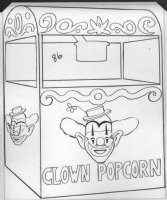 Circus Boy Uncle Joey the Clown Popcorn Coloring Book Art Comic Art