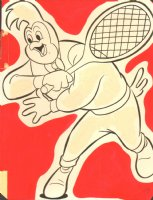Walter Lantz's Coloring Book Art - Rooster Playing Tennis Comic Art